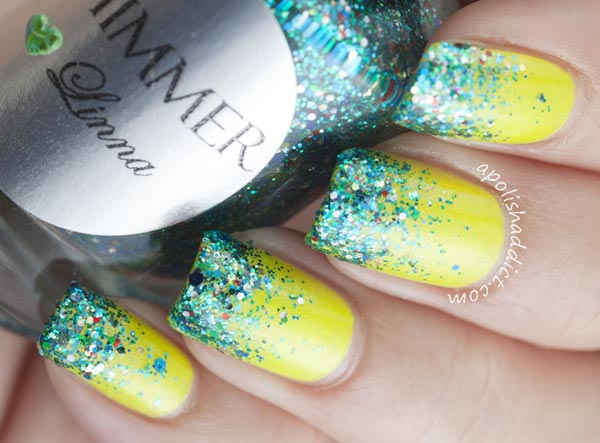 green glitter gradient yellow nails