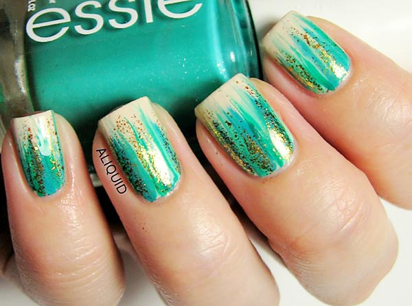 green gold striped beige nails