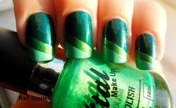 green gradient stripes spring nails