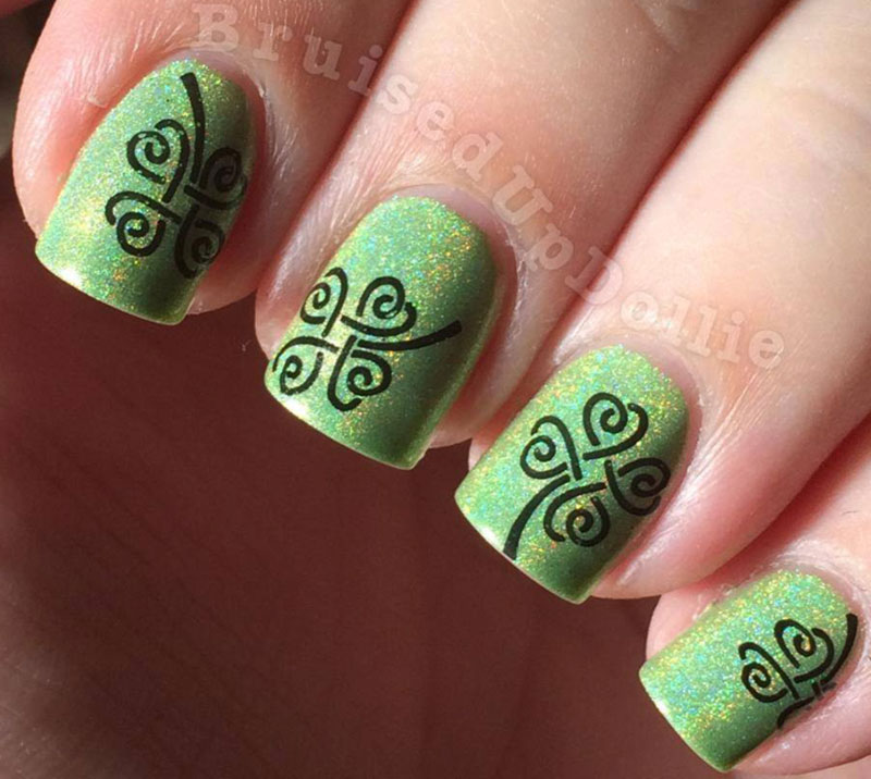 green shimmer holo clover stamped st patricks day nails