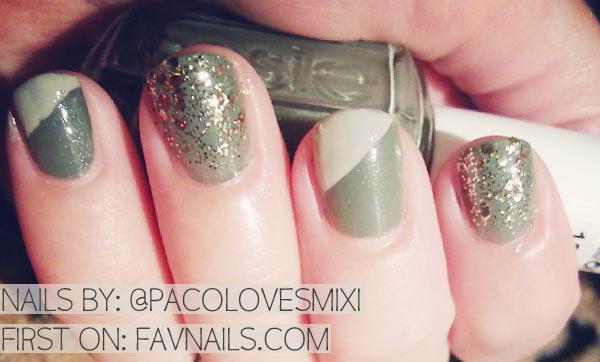 mint khaki diagonal french glitter nails