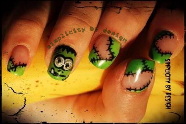 green monster french halloween nails