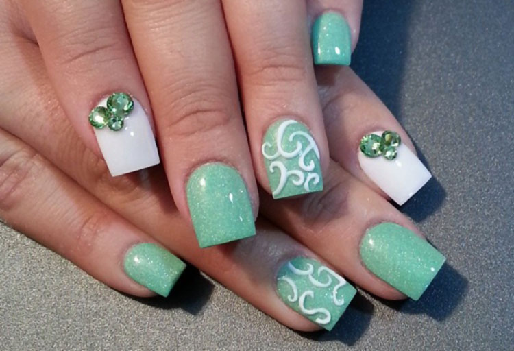 green pastel white rhinestones easter nails