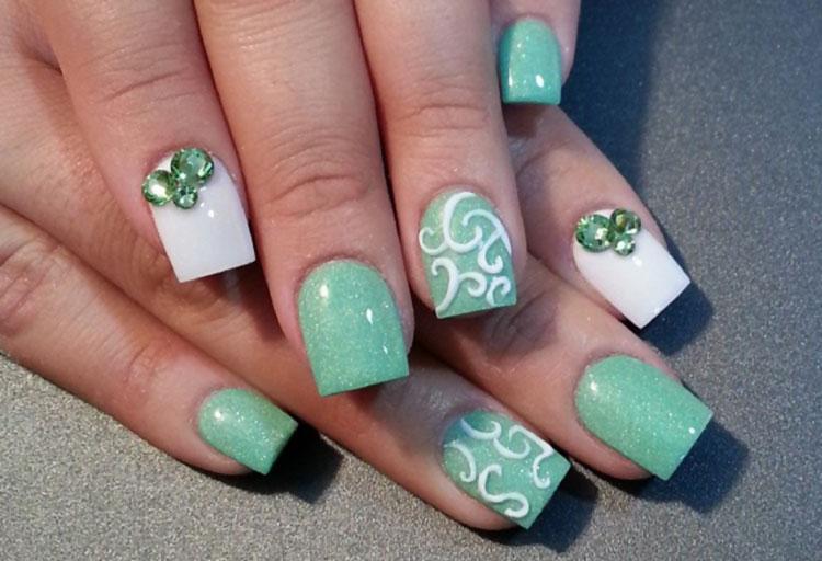 green pastel white rhinestones easter nails