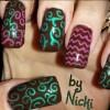 green pink neon swirls black nails