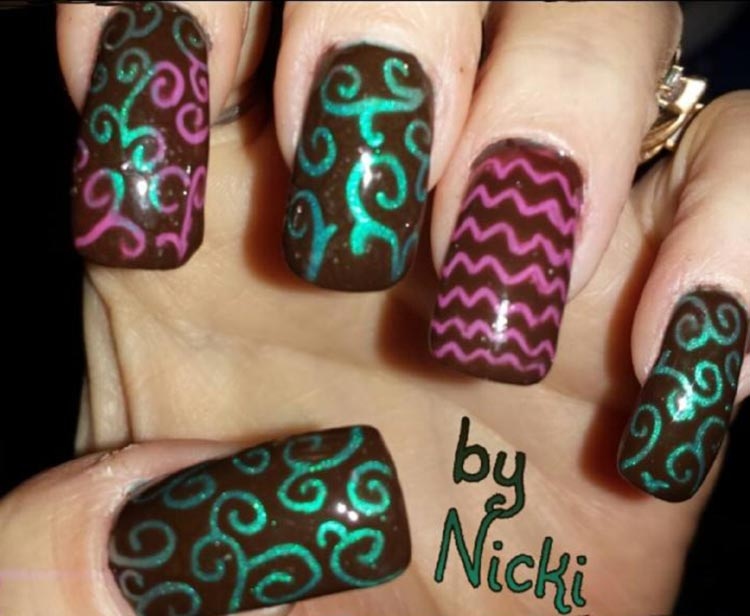 green pink neon swirls black nails