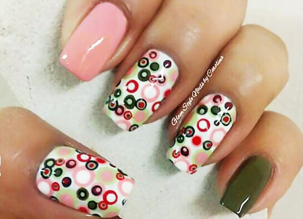 green pink white dotticure nails