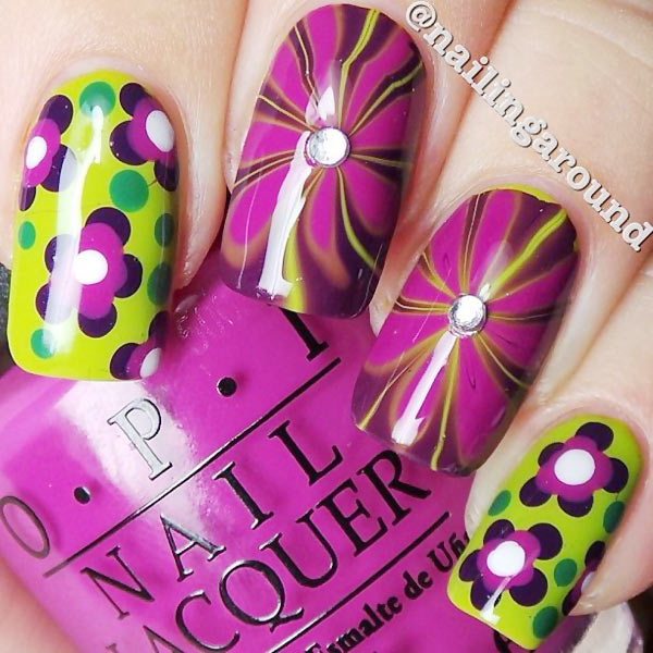 green purple dotted flowers marbled nails