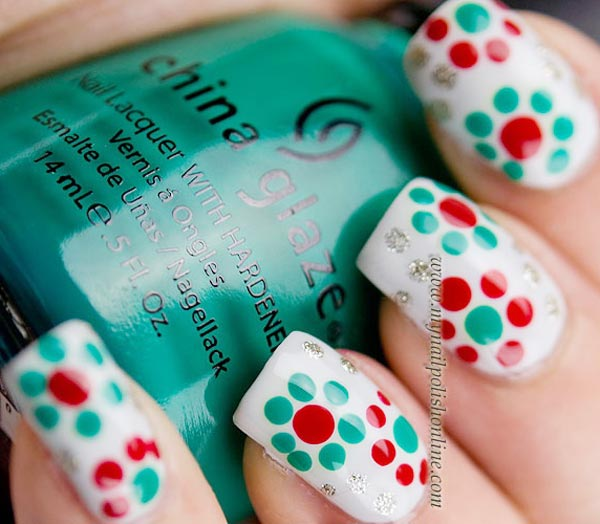 green red dotted flowers spring nails