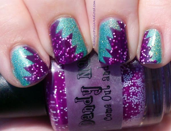green shimmer purple glitter nails
