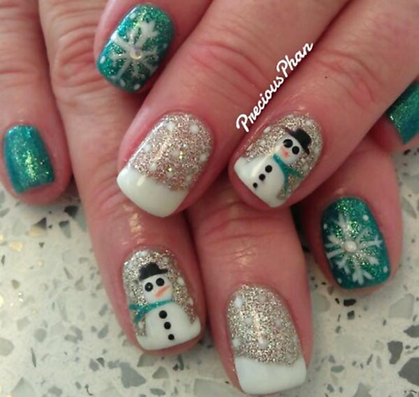 green silver glitter snowflakes winter nails