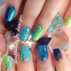 green turquoise spring gradient rhinestones nails