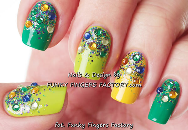green yellow rhinestones glitter gradient nails