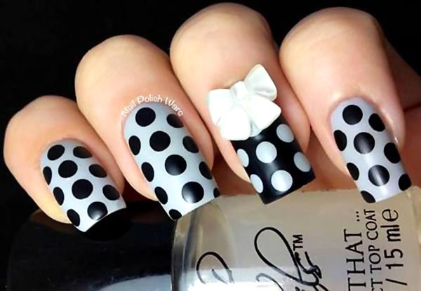 grey black 3D bow dotted nails