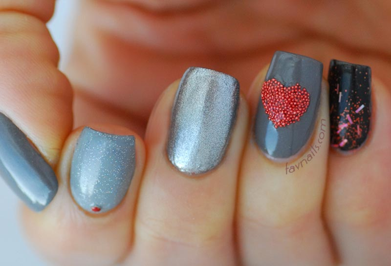 grey gradient black glitter heart valentines day nails