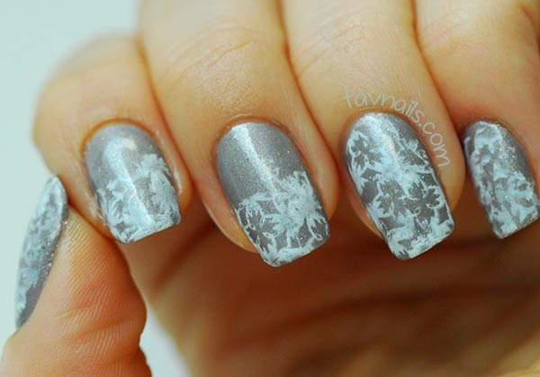 grey holo white stamped winter nails