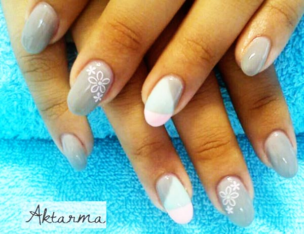 grey pink geometry flowers girly nails