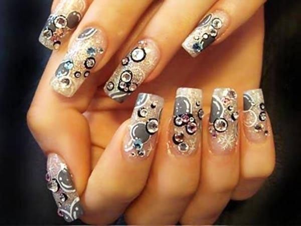 grey silver rhinestones snowflakes nails
