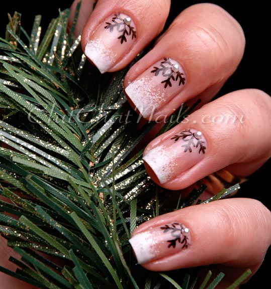 half moon french snowflakes nails