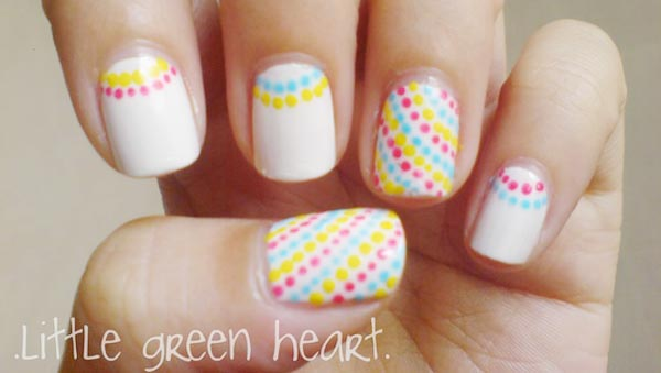halfmoon dotted spring easter white nails