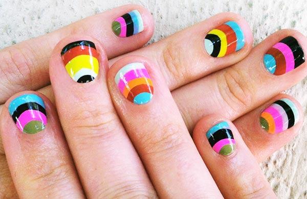 halfmoon rainbow striped nails