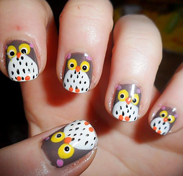 halloween owl nails