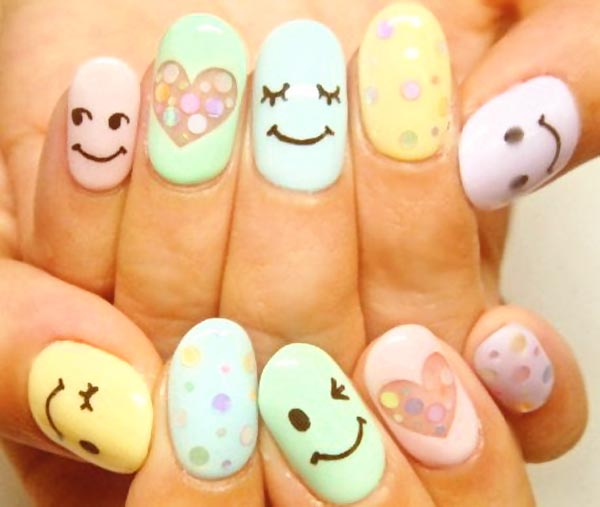 happy faces hearts pastel nails