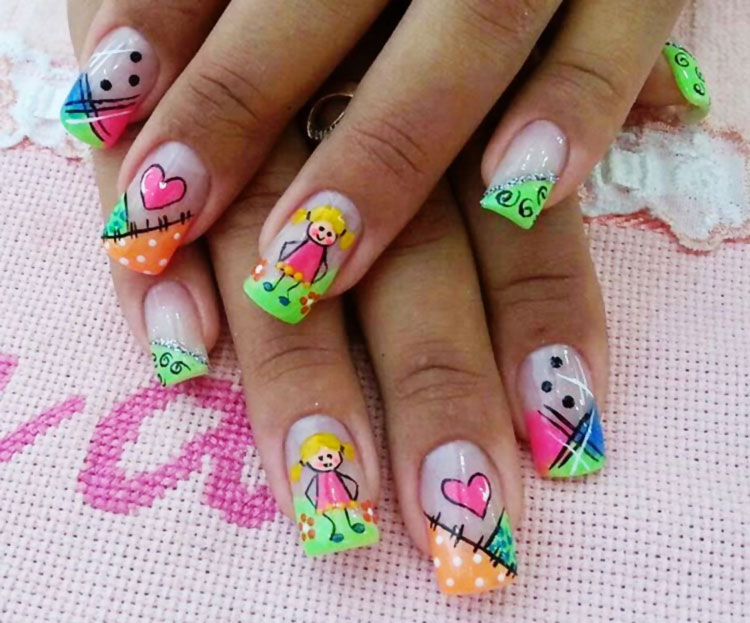 happy joyful girl birthday party nails