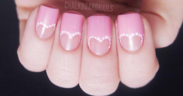 heart shaped dotted halfmoon pink nails