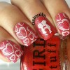 heart stamped red lovely nails