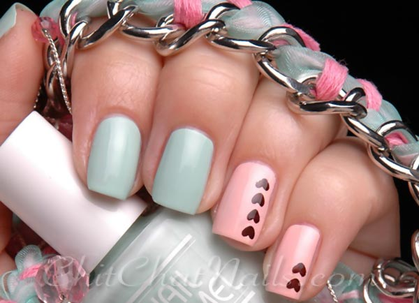 hearts accents blue pink pastel nails
