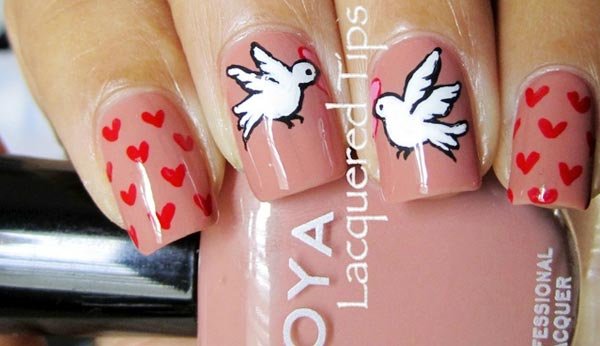 hearts and doves valentine s day nails