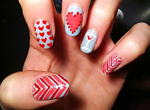 hearts and stripes nails