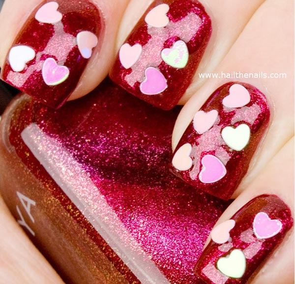 hearts applique red valentines day nails