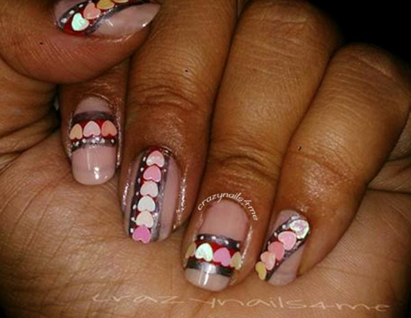 hearts appliques valentines day nails