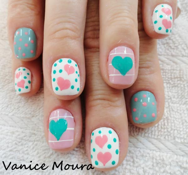 hearts dots pink teal white spring nails