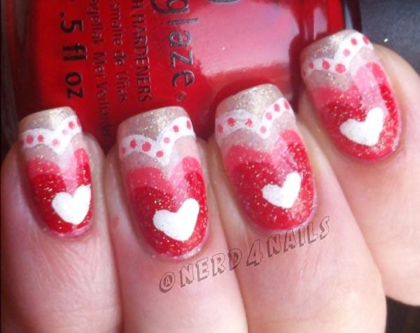 hearts dots silver pink gradient nails