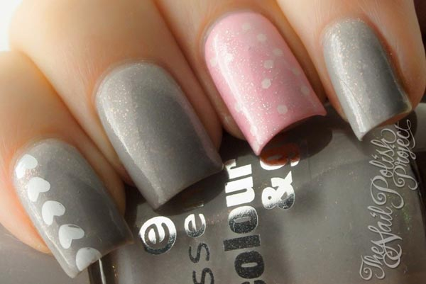 hearts on gray pink glitter nails