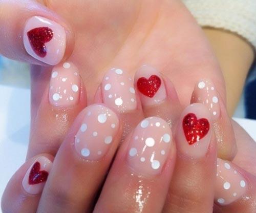 hearts rhinestones light peach nails
