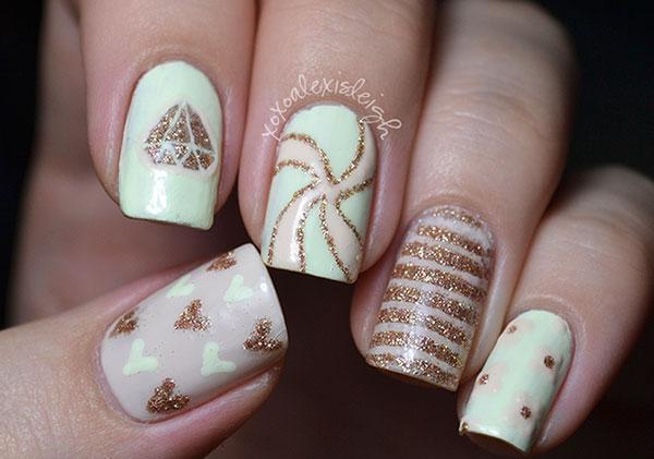 hearts stripes diamond white gold retro nails