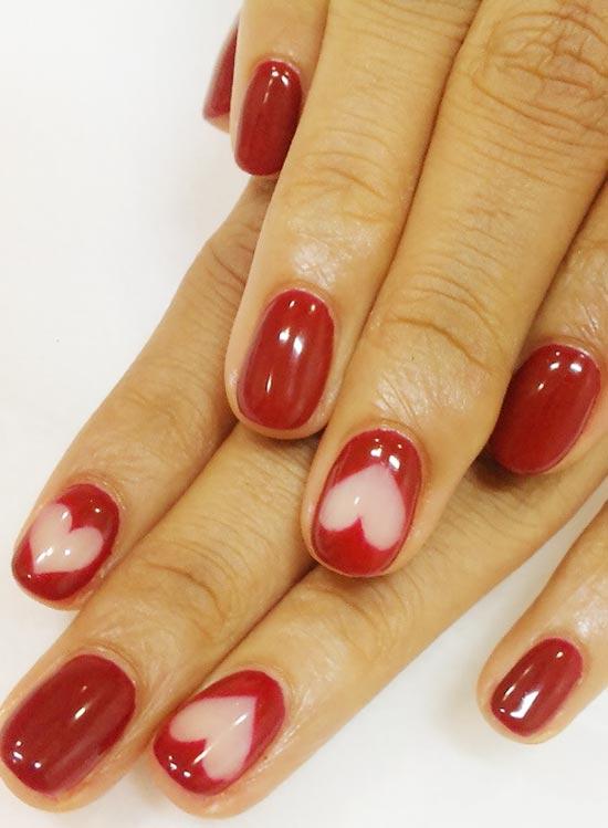 hearts valentine s day nails