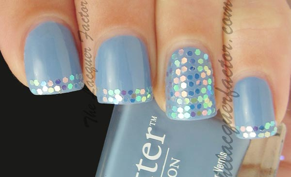 holo glitter tips blue french nails