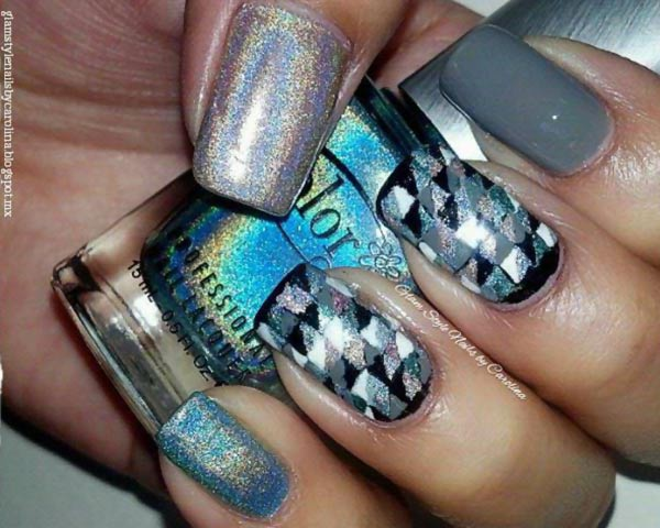holographic geometry accents silver nails