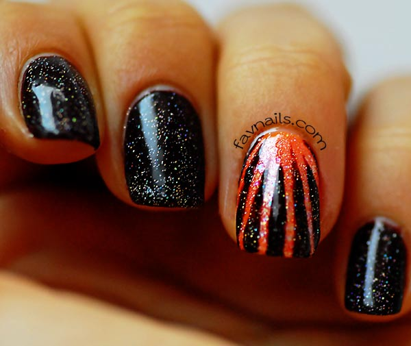 holographic topcoat orange rays fall halloween nails