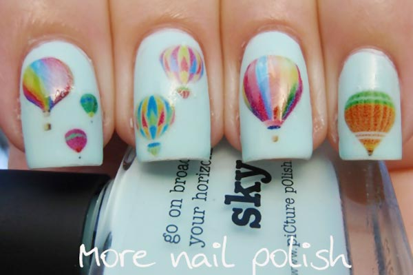 hot air balloons on white nails