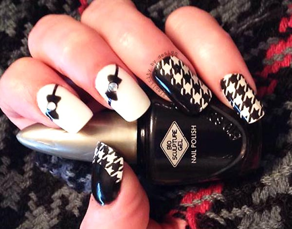 houndstooth bows black and white nails