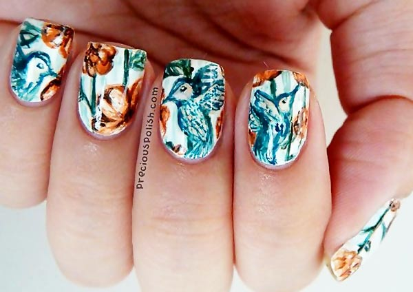 hummingbirds flowers freehand nails