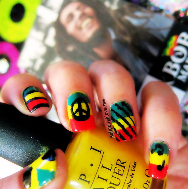jamaican bob marley musical nails