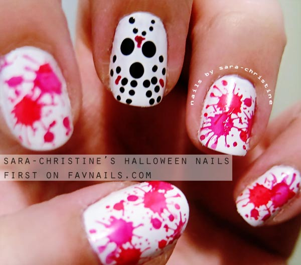 jason voorhees splatter halloween nails
