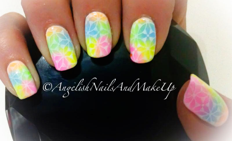 lace stamped neon gradient summer nails